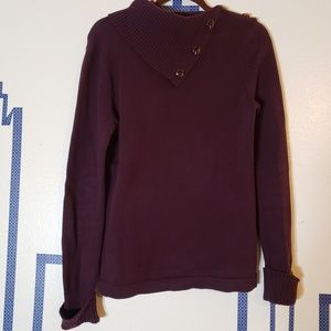Market & Spruce burgundy button neck sweater